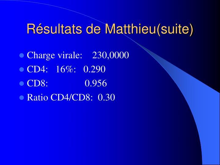 Résultats de Matthieu(suite)