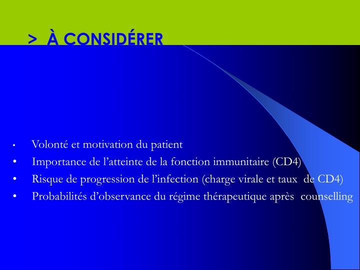 >  À CONSIDÉRER