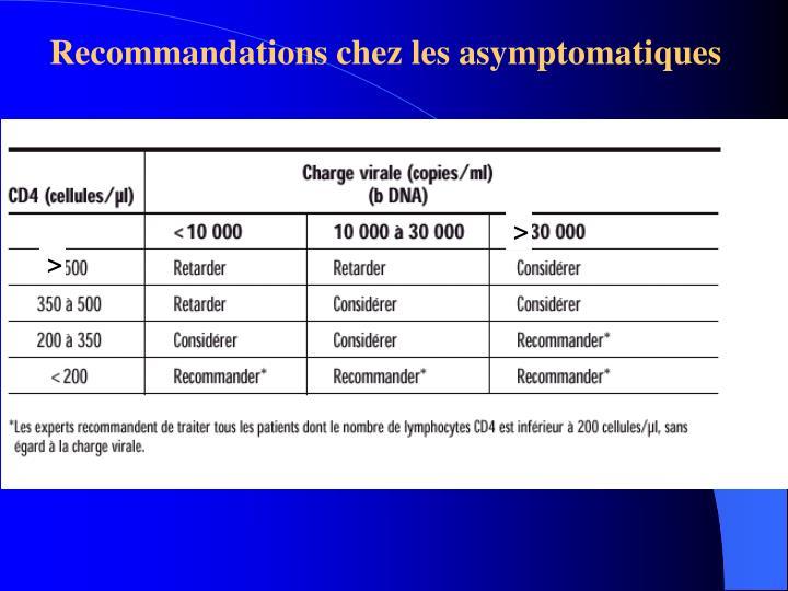 Recommandations chez les asymptomatiques
