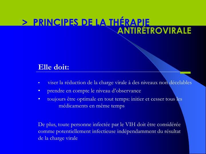 >  PRINCIPES DE LA THÉRAPIE