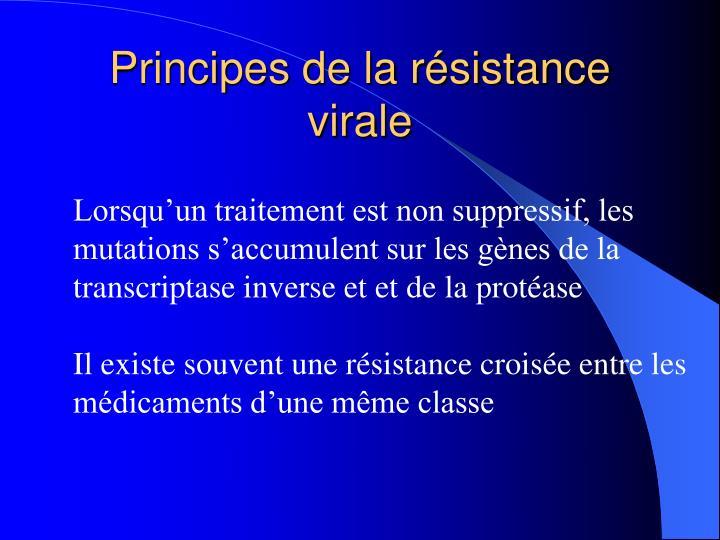 Principes de la résistance virale