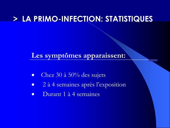 >  LA PRIMO-INFECTION: STATISTIQUES