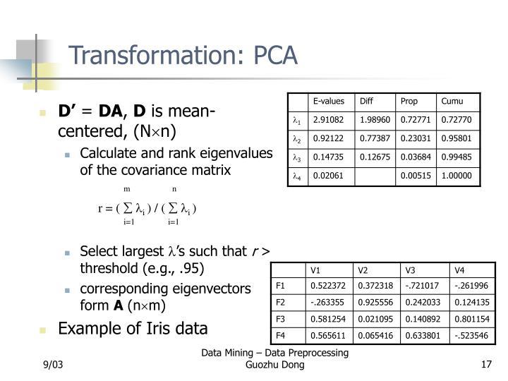 Transformation: PCA