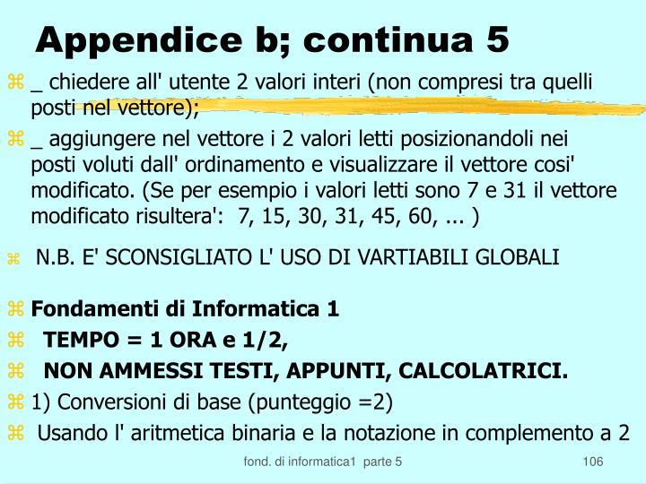 Appendice b; continua 5