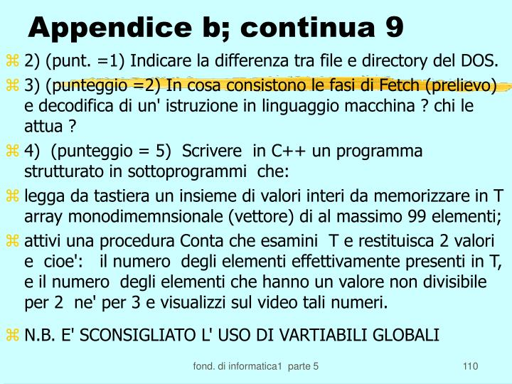 Appendice b; continua 9