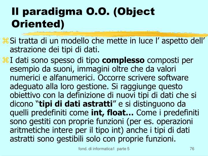 Il paradigma O.O. (Object Oriented)