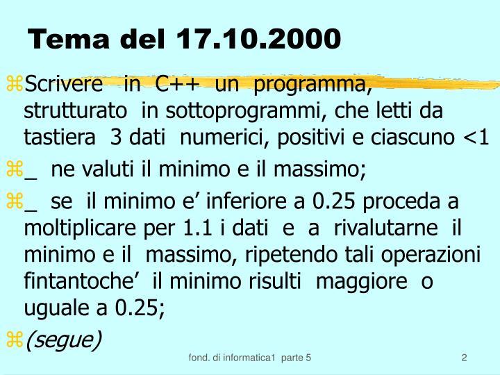 Tema del 17.10.2000