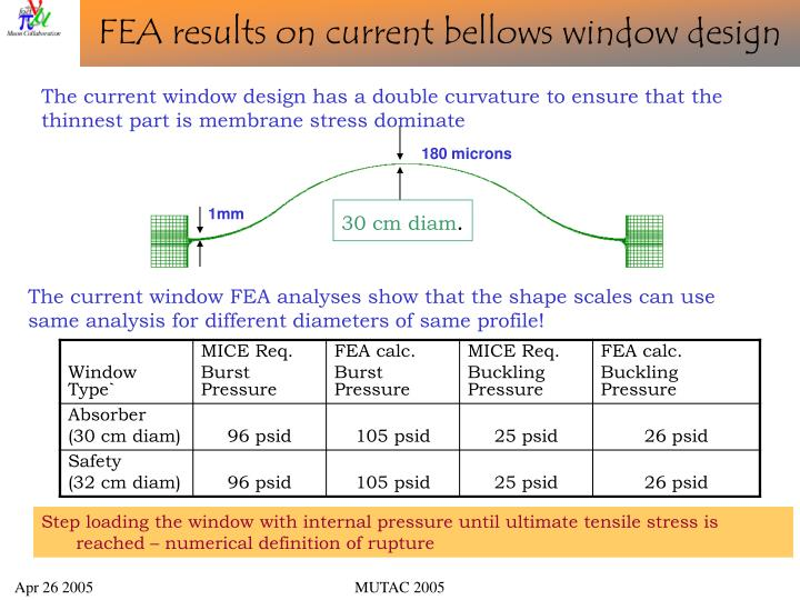 FEA results on current bellows window design