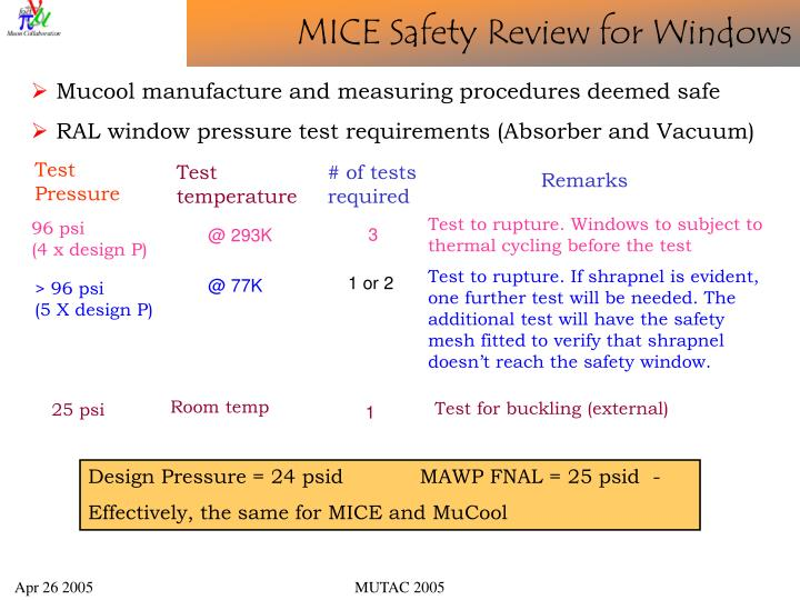 MICE Safety Review for Windows