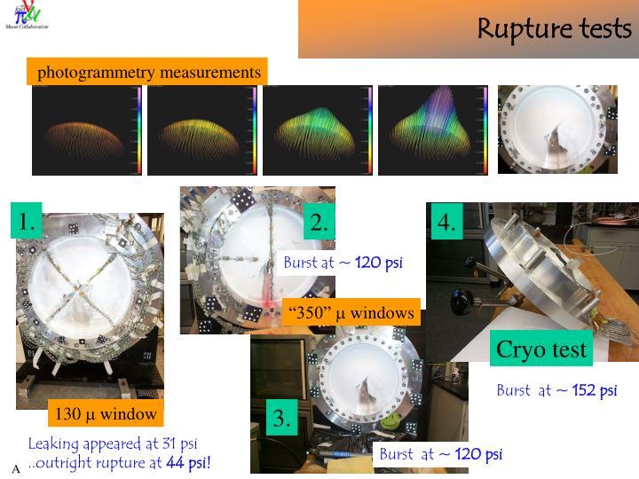 Rupture tests