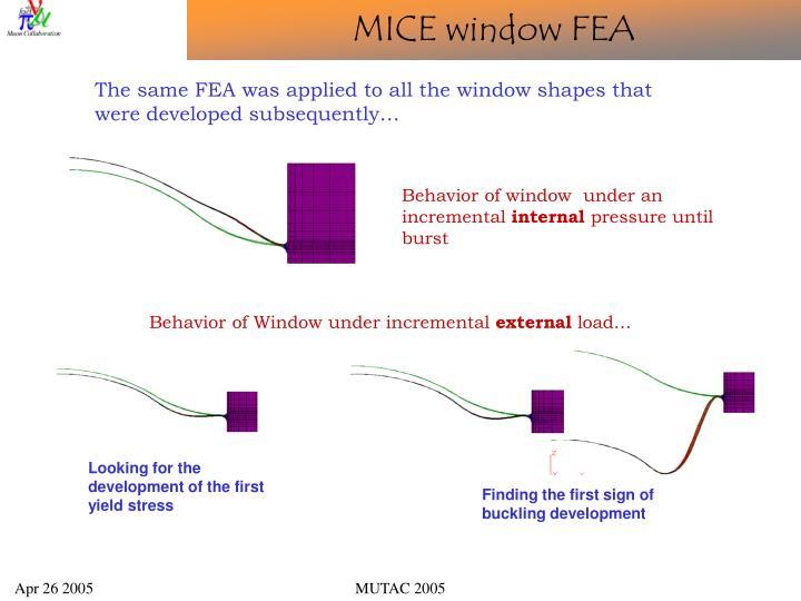 MICE window FEA