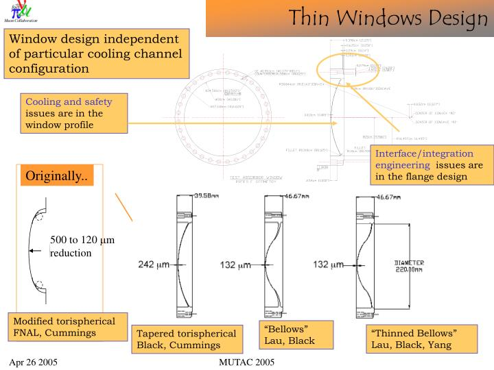 Window design independent of particular cooling channel configuration
