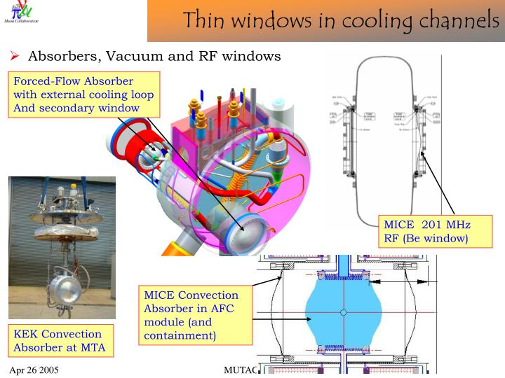 Thin windows in cooling channels