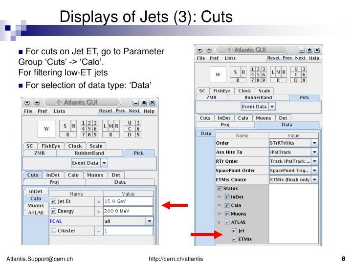 Displays of Jets (3): Cuts