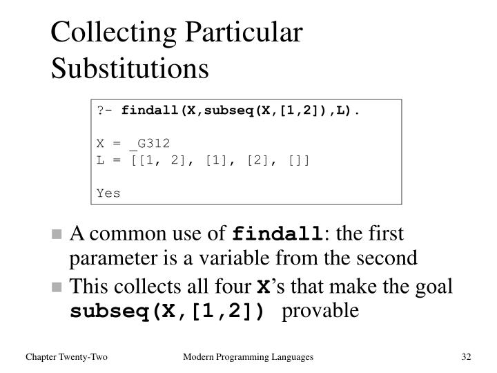 Collecting Particular Substitutions