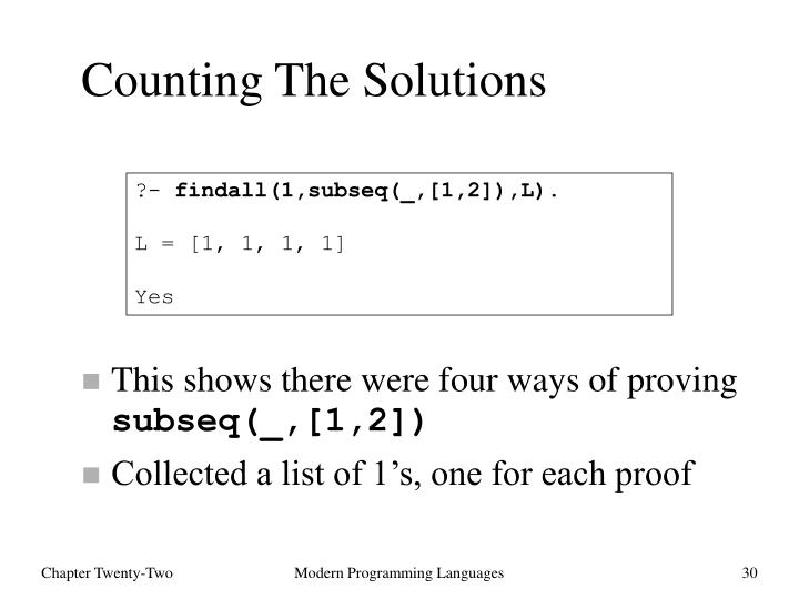 Counting The Solutions