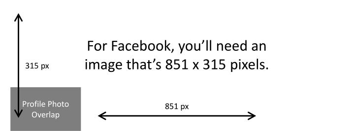 For Facebook, you'll need an image that's 851 x 315 pixels.