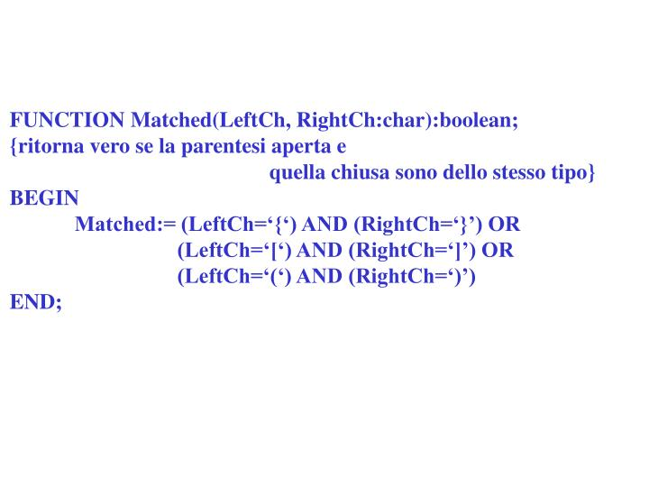 FUNCTION Matched(LeftCh, RightCh:char):boolean;