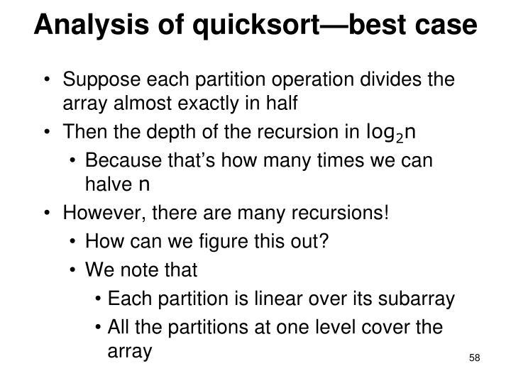 Analysis of quicksort—best case