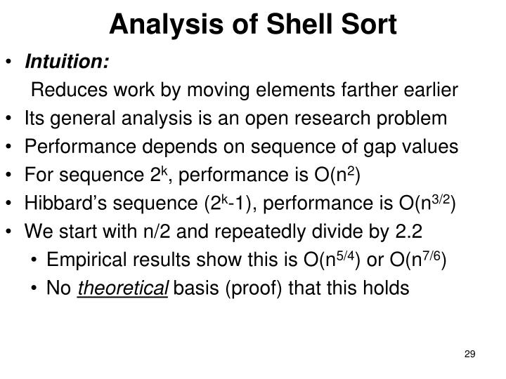 Analysis of Shell Sort
