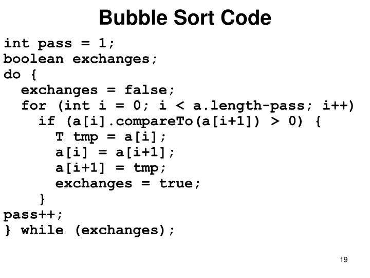 Bubble Sort Code
