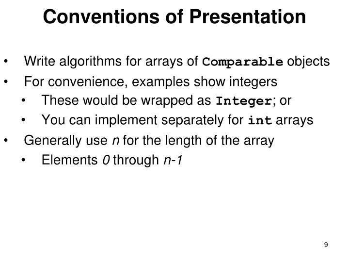 Conventions of Presentation