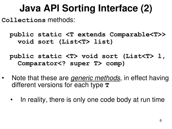 Java API Sorting Interface (2)