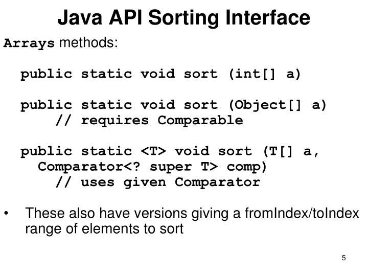 Java API Sorting Interface