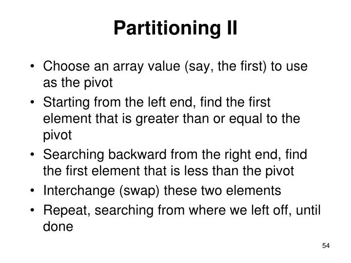 Partitioning II
