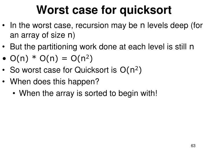 Worst case for quicksort