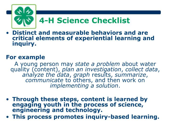4-H Science Checklist