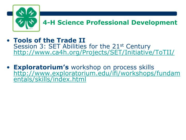 4-H Science Professional Development