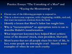 practice essays the unmaking of a man and eyeing the mountaintop