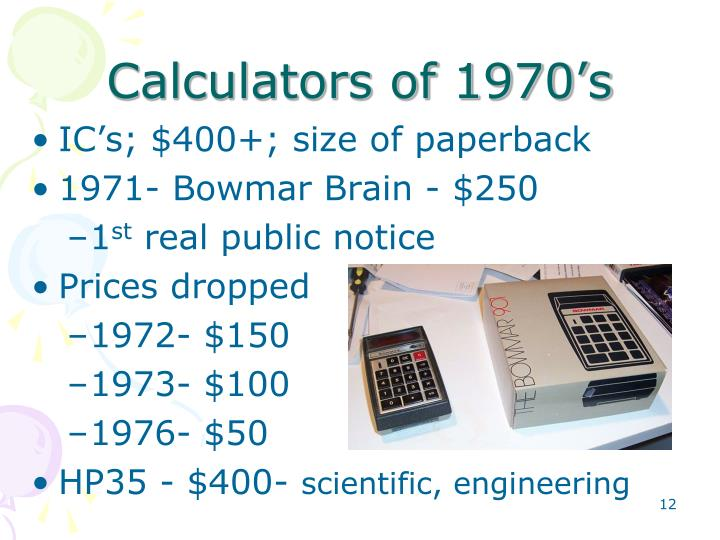 Calculators of 1970's