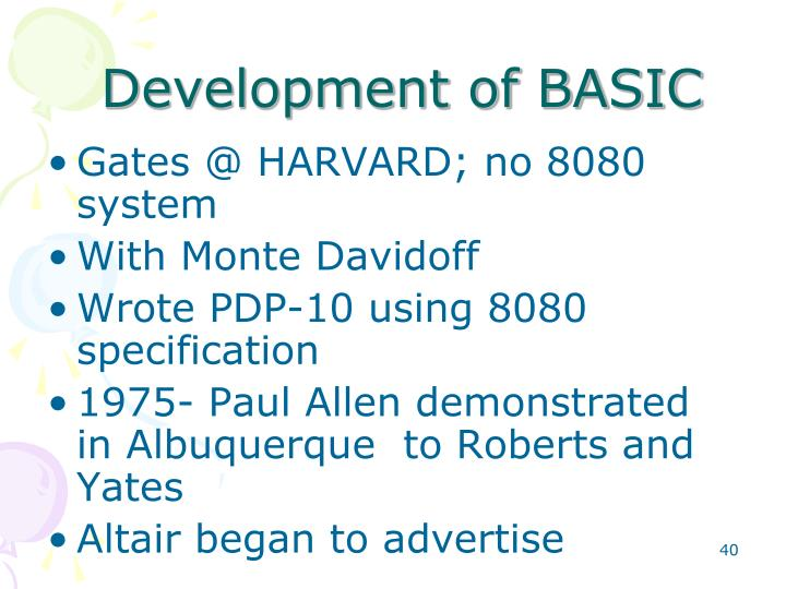Development of BASIC