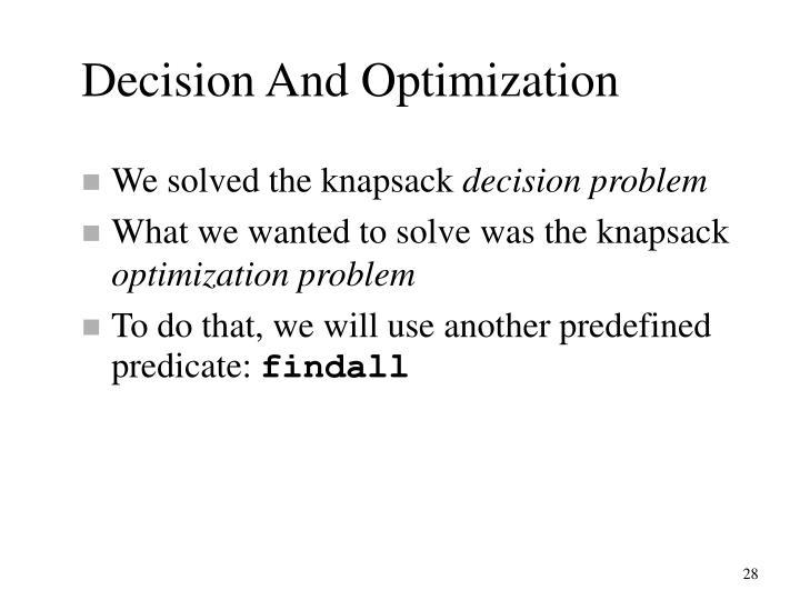 Decision And Optimization