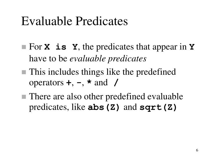 Evaluable Predicates