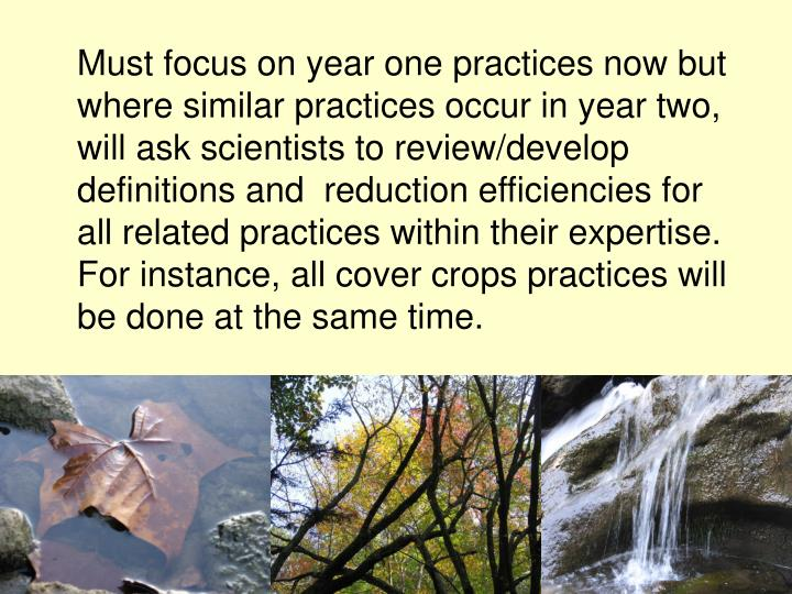 Must focus on year one practices now but where similar practices occur in year two, will ask scientists to review/develop definitions and  reduction efficiencies for all related practices within their expertise. For instance, all cover crops practices will be done at the same time.