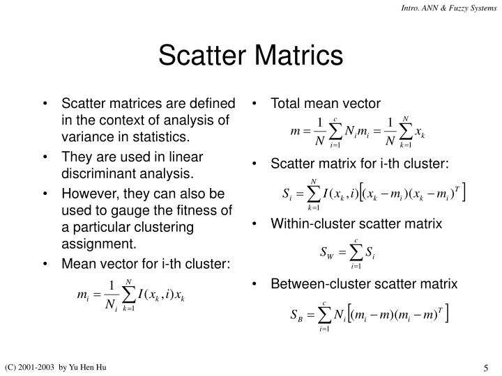 Scatter matrices are defined in the context of analysis of variance in statistics.