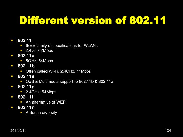 Different version of 802.11