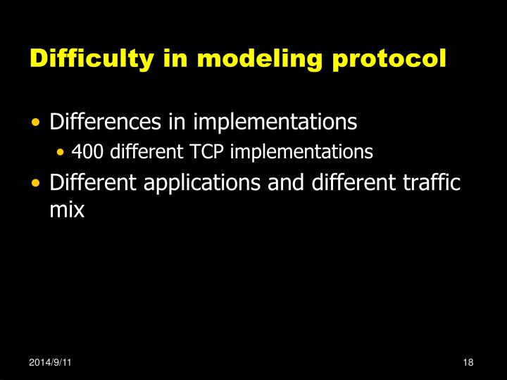 Difficulty in modeling protocol