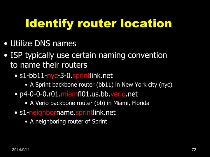 Identify router location