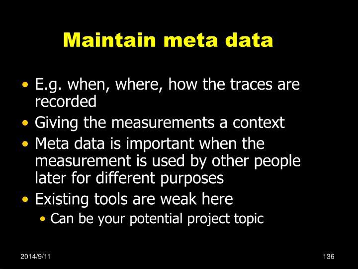Maintain meta data