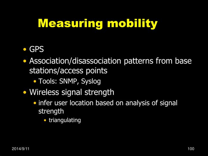 Measuring mobility