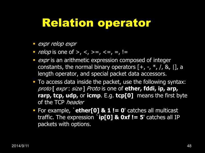 Relation operator