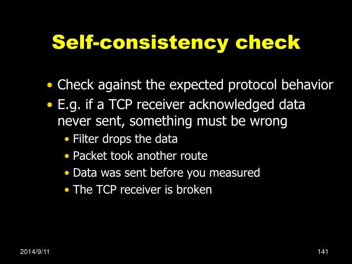 Self-consistency check
