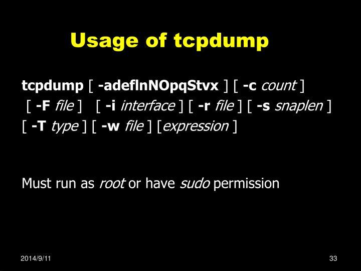 Usage of tcpdump