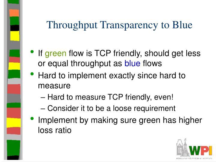 Throughput Transparency to Blue
