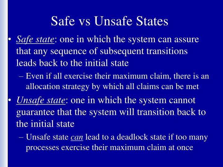 Safe vs Unsafe States
