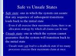 safe vs unsafe states